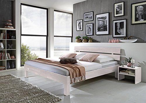 SAM® Massiv-Holzbett Jessica in Buche weiß, Bett mit geteiltem Kopfteil, natürliche Maserung, massive widerstandsfähige Oberfläche in edlem Weißton, 140 x 200 cm