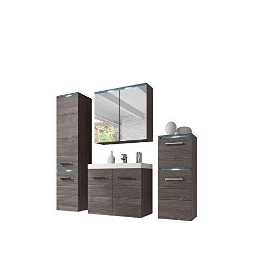 Modernes Badmöbel Set Savana I mit Waschbecken und Siphon, Badezimmer, Hochschrank, Waschtisch, Spiegelschrank Möbel Waschplatz (Bodega, mit RGB LED Beleuchtung)