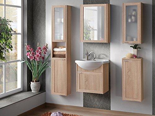 Badmöbel Set Piano mit Waschbecken und Siphon, Modernes Badezimmer Komplett, Spiegelschrank, Waschtisch, Hochschrank, Möbel (Eiche Sonoma)