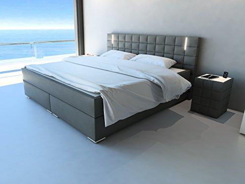 sam led boxspringbett 180x200 cm berlin grau kunstleder bonellfederkern matratze h3. Black Bedroom Furniture Sets. Home Design Ideas