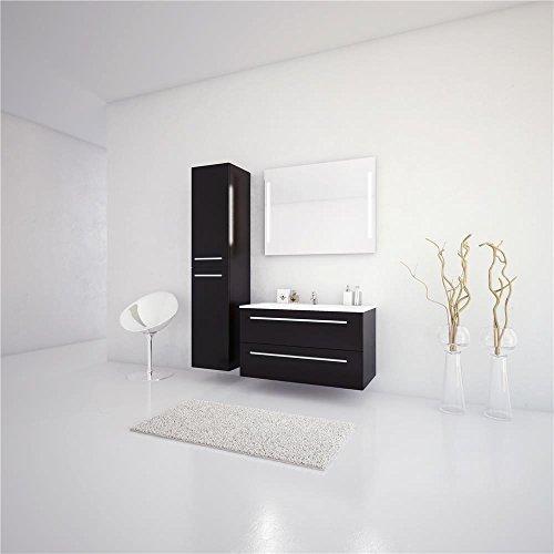 Jokey Sieper Badmöbel Badmöbelset Libato - 60 cm 90 cm 120 cm Breit - weiß und anthrazit Hochglanz - Badmöbel Badezimmermöbel Waschtisch Unterschrank Badmöbel Set (90, anthrazit)