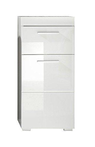 Trendteam Badezimmer Schrank Kommode Amanda, 37 x 79 x 31 cm in Weiß Hochglanz mit Schubkasten und pflegeleichten Tiefzieh-Hochglanzfronten