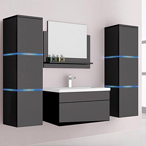 Home Deluxe | Badmöbel-Set | Cuxhaven | Schwarz | Hochglanz | inkl. Waschbecken und komplettem Zubehör