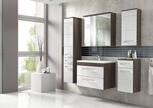 Cosmo 2 Badmöbel-Set / Komplettbad 6-teilig in Weiß Hochglanz / Avola Dekor, Waschtisch 60 cm, LED-Beleuchtung