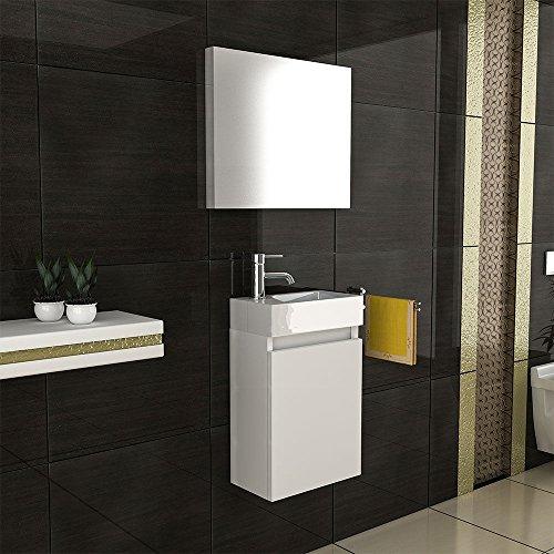 Exklusive vormontierte Badmöbel-Set in Weiß Hochglanz mit Softclose-Funktion 40x22 cm mit Mineralguss Waschbecken und Unterschrank