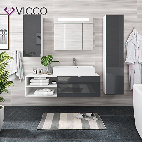 vicco badm bel set alvaro led wei anthrazit hochglanz echtlack waschtisch waschbecken spiegel. Black Bedroom Furniture Sets. Home Design Ideas
