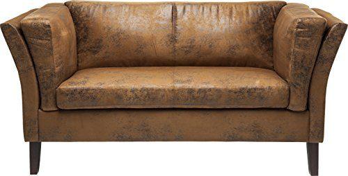 Kare Canapee 2-Sitzer Vintage Econo, 77566, moderne 2er Lounge Couch im Vintage-Design, Kunstleder, braun (H/B/T) 73x160x79cm