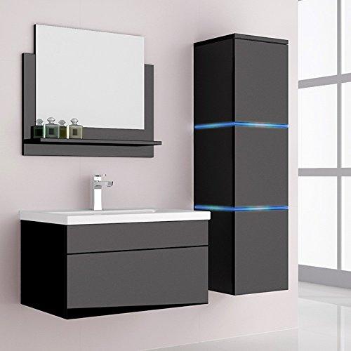 Home Deluxe | Badmöbel-Set | Wangerooge schwarz | L | inkl. Waschbecken und komplettem Zubehör | verschiedene Größen