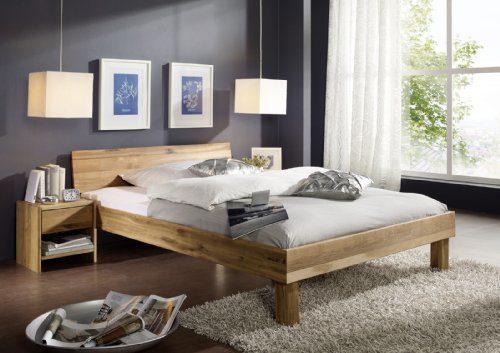 SAM Massives Holzbett 160x200 cm Columbia, Wildeiche Bett geölt, geschlossenes Kopfteil
