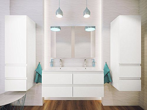 Como Badmöbel-Set / Komplettbad 7-teilig in Weiß hochglanz, mit Doppel-Waschtisch 120 cm, LED-Beleuchtung, Komplett vormontiert