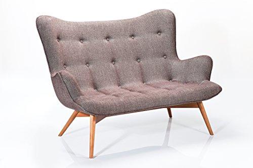 Sofa Angels Wings Rhythm 2er Sitzer, Braun, moderner Couchsessel im Retrodesign, kleine Einzelsofas Stoff, (H/B/T) 93x132x99cm