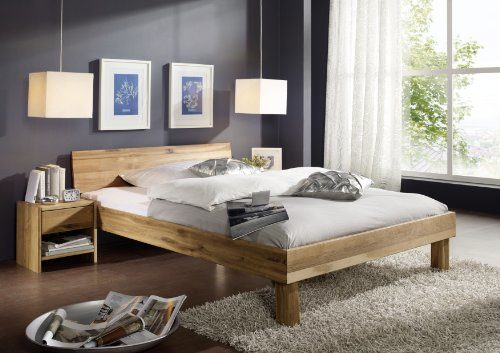 SAM Massives Holzbett Columbia 100x200 cm Wildeiche Bett, geschlossenes Kopfteil, Massivholz Eiche geölt