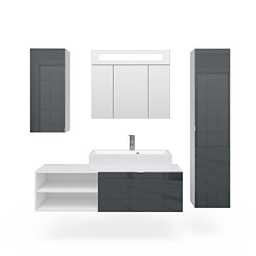 VICCO Badmöbel Set ALVARO LED weiß Anthrazit Hochglanz Echtlack - Waschtisch Waschbecken Spiegel (Set 4)