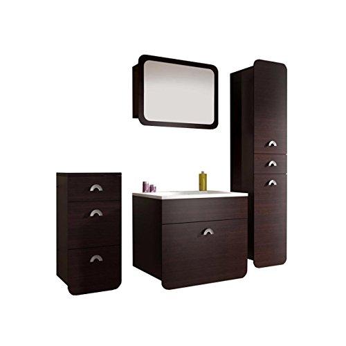 Badmöbel Set Rondo mit Waschbecken und Siphon, Modernes Badezimmer, Komplett, Spiegel, Waschtisch, Hochschrank, Möbel (Wenge)