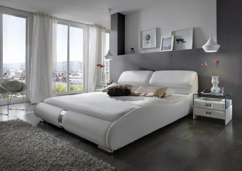 SAM® Polsterbett Lecce weiß. Liegefläche 140 x 200 cm geschwungene Linienführung, aufklappbares Kopfteil, Chrom farbene Füße, modernes Design