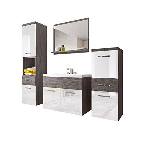 Badmöbel Set Bella I mit Waschbecken und Siphon, Modernes Badezimmer, Komplett, Spiegel, Waschtisch, Hochschrank, Hängeschrank Möbel (Bodega/Weiß Hochglanz)