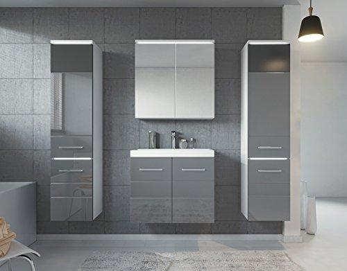 Badezimmer Badmöbel Toledo XL LED 60 cm Waschbecken Hochglanz Grau Fronten - Unterschrank 2x Hochschrank Waschtisch Spiegelschrank