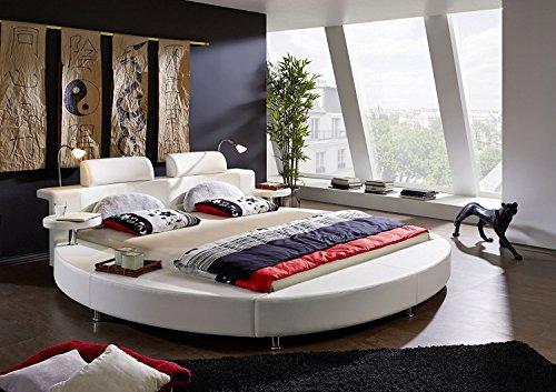 SAM Design Rundbett 180x200 cm Carlos, Polsterbett in weiß mit Kopfstütze, inkl. Beleuchtung und Nachttischablagen