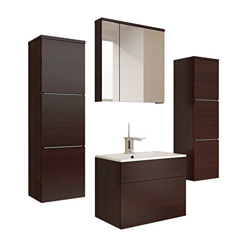 Badmöbel Set Porto mit Waschbecken und Siphon, Modernes Badezimmer, Komplett, ink. Spiegelschrank, Waschtisch, Hochschrank, Möbel (mit weißer LED Beleuchtung, Wenge)