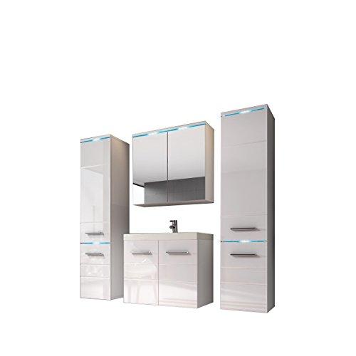 Modernes Badmöbel Set Savona II mit Waschbecken und Siphon, Badezimmer, Hochschrank, Waschtisch, Spiegelschrank Möbel Waschplatz (mit Weißer LED Beleuchtung, Weiß/Weiß Hochglanz)