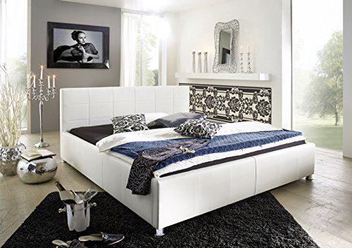 SAM Design Polsterbett 180x200 cm Katja, weiß, aus Kunstleder, abgestepptes Kopfteil, Chrom-Füße, gepolstert