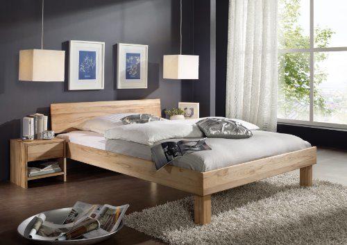 SAM Massivholz Bett 140x200 cm Columbia, Kernbuche, geschlossenes Kopfteil, Buche geölt