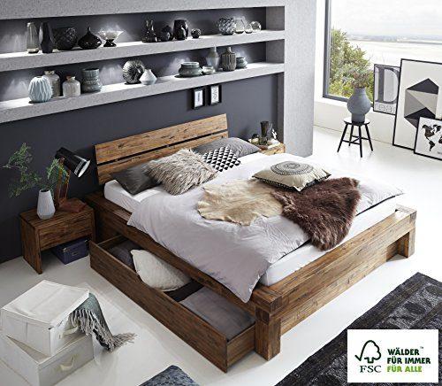 SAM Balkenbett 180x200 cm Alias, Akazien-Holz, Holzbett mit Bettkasten, FSC® zertifiziert, Unikat