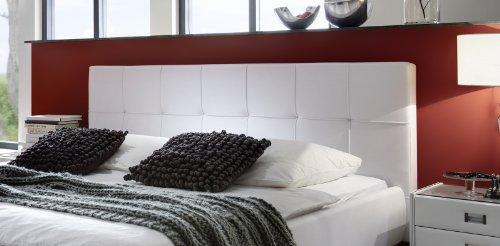 SAM Polsterbett 140x200 cm Zarah in weiß, mit gepolstertem abgestepptem Kopfteil, Chromfüße, als Wasserbett verwendbar
