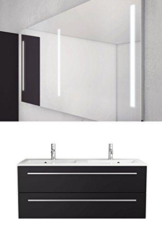 Sieper Libato Waschtischunterschrank + Leuchtspiegel - 60 cm 90 cm 120 cm Breit - weiß und anthrazit Hochglanz - Badmöbel Badezimmermöbel Waschtisch Unterschrank Badmöbel Set … (120, anthrazit)