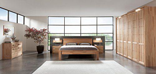 SAM® Schlafzimmer-Set, 1 x Holzbett + 2 x Nachtkommode + 1 x Kleiderschrank mit Lichtkranz, Kernbuche, gewachst, Bett 180 x 200 cm, geschlossenes Kopfteil, massive Oberfläche [521987]