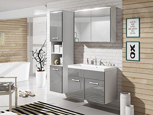 Badmöbel Set Paso mit Waschbecken und Siphon, Modernes Badezimmer, Komplett, Spiegelschrank, Waschtisch, Hochschrank, Hängeschrank Möbel (mit weißer LED Beleuchtung, Weiß/Grau Hochglanz)
