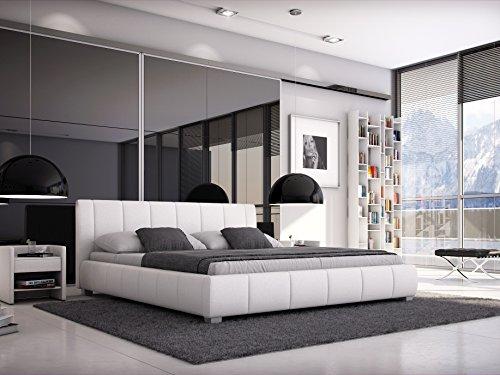 sam polsterbett 180 200 cm leon wei bett mit gepolstertem hohen kopfteil modernes design. Black Bedroom Furniture Sets. Home Design Ideas