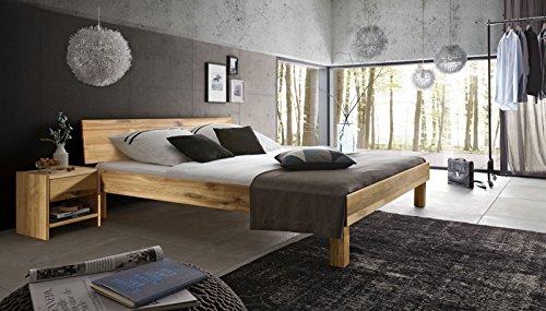SAM Massiv-Holzbett 140x200 cm Columbus in Wildeiche natur, geschlossenes Kopfteil, 100% FSC®-zertifiziert