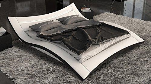 SAM Polster-Bett 140x220 cm Salina LED in weiß/schwarz, außergewöhnliches Designbett, Lichtleiste am Kopfteil