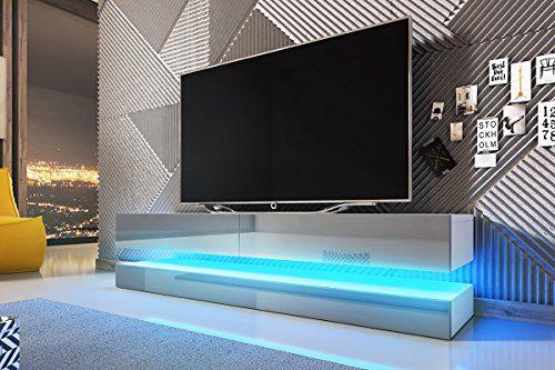 Aviator – TV-Board in Schwebeoptik / TV-Hängeschrank / Fernsehschrank (140 cm, weiß matt / grau Hochglanz mit LED blau)