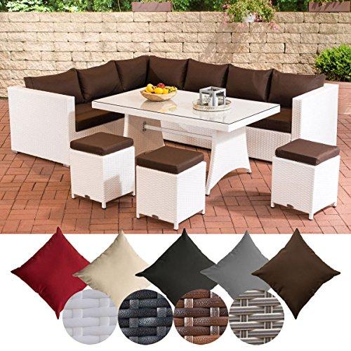 CLP Gartengarnitur SORANO | Sitzgruppe mit 8 Sitzplätzen | Gartenmöbel-Set aus Polyrattan | In verschiedenen Farben erhältlich Bezugfarbe: Terrabraun, Rattanfarbe: Weiß
