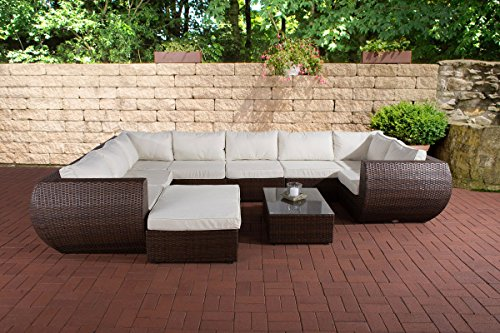 CLP Poly-Rattan Gartengarnitur GIBRALTAR, Aluminiumgestell (2er Sofa + Ecksofa + Mittelsofa + Fußhocker + Tisch 82 x 57cm + 10 cm dicke Polster + Kissen) braun-meliert