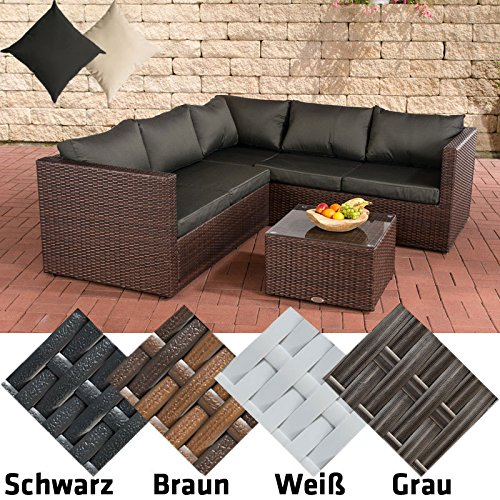 CLP Poly-Rattan Lounge-Set LIBERI, Aluminium-Gestell (3er Sofa + 2er Sofa + Tisch 55 x 55 cm + 9 cm Polster/Kissen) Rattan Farbe braun-meliert, Bezugfarbe: Anthrazit