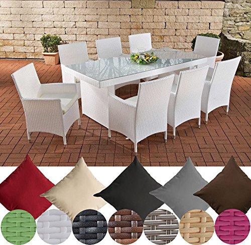 CLP Polyrattan-Sitzgruppe AVIGNON BIG | Garten-Set mit 8 Sitzplätzen | Komplett-Set bestehend aus: 1x Tisch und 8 Gartenstühlen inklusive Sitzauflagen | In verschiedenen Farben erhältlich Rattanfarbe: Weiß, Bezugfarbe: Cremeweiß
