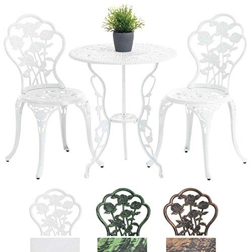 CLP Sitzgarnitur SHARMA, nostalgische Sitzgruppe aus Aluminium-Guss, Gartengarnitur, runder Tisch Ø 60 cm, Stuhl max. belastbar bis 136 kg, Weiß
