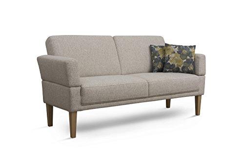 Cavadore 3er Sofa Femarn / Küchensofa für Küche, Esszimmer / Couch für Esszimmer / Maße: 190 x 98 x 81 cm (BxHxT) / Strukturstoff Natur (beige/weiß) / Echtholzfüße in Buche natur