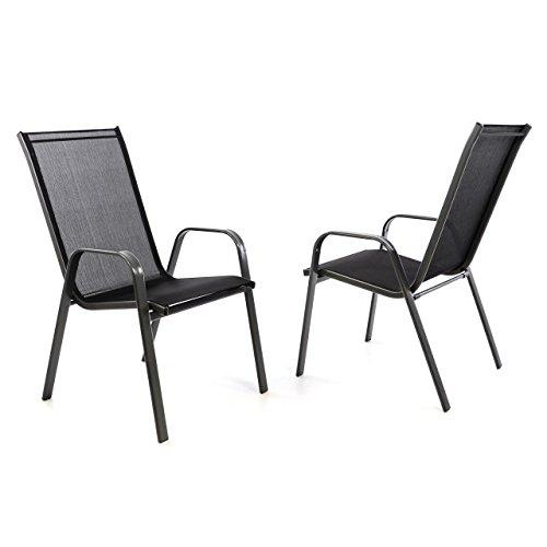 nexos 2er set gartenstuhl stapelstuhl stapelsessel hochlehner terrassenstuhl textilene. Black Bedroom Furniture Sets. Home Design Ideas