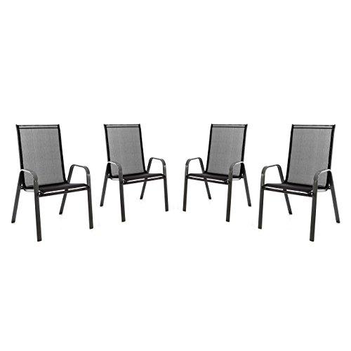 Nexos 4er Set Stapelstuhl für Balkon Terrasse Garten-Stuhl mit Armlehne Textilene 2x1 schwarz Gestell anthrazit Hochlehner Stahlstuhl 55x72x97 cm bis 110 kg belastbar, stapelbar, witterungsbeständig