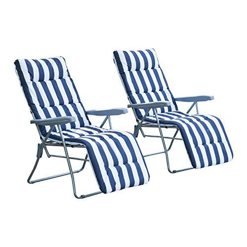 Outsunny 2 x Klappstühle Gartenstuhl Sonnenliege Armlehne klappbar 5 Positionen Auflage, blau, 58x90x110 cm, 01-0712