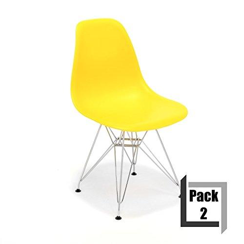pack von 2 st hle tower replica eames hochwertige polypropylen und f e stahl wei gelb m bel24. Black Bedroom Furniture Sets. Home Design Ideas