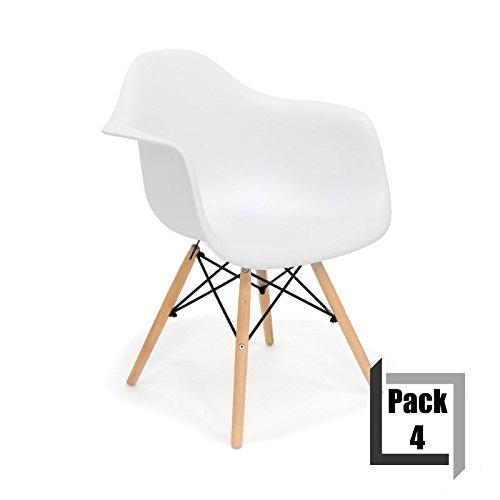 pack von 4 st hle tower wood replica eames hochwertige polypropylen und holz buche arme wei. Black Bedroom Furniture Sets. Home Design Ideas