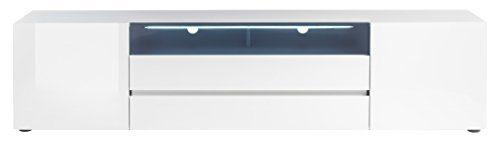 Robas Lund, Lowboard, Fernsehtisch, TV-Schrank, Vicenza II, Hochglanz/weiß, beleuchtbar, 203 x 43 x 49 cm, 48842WH9