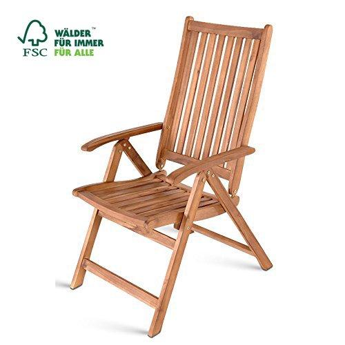 SAM Hochlehner France, Gartenstuhl aus Akazienholz, verstellbarer Klappstuhl, FSC zertifiziert