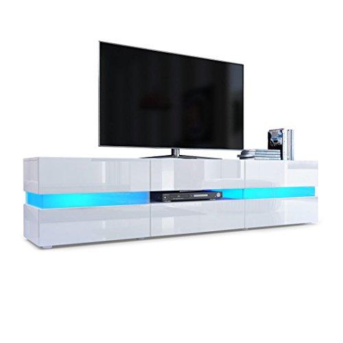 TV Board Lowboard Flow, Korpus in Weiß Hochglanz / Front in Weiß Hochglanz inkl. LED Beleuchtung