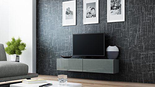 TV Board Lowboard Migo Hängeschrank Wohnwand (Grau Matt /Grau Hochglanz)